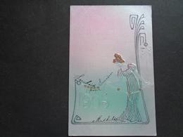 Carte ( 611 ) Fantaisie  Fantasie - Thème : Année   Jaartal  1910   - Carte Gaufrée  Reliëf - Femme Art Nouveau - Autres