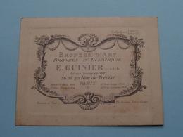 """BRONZES D'ART """" E. GUINIER """" 36-38-40 Rue De Trévise PARIS ( Voir / Zie Foto ) ! - Cartes De Visite"""