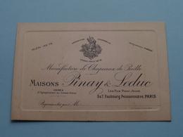 """Manufact. Chapeau De Paille - Maisons """" PINAY & LEDUC """" 5 & 7 Faubourg Poissonnnière PARIS ( Voir / Zie Foto ) ! - Cartes De Visite"""