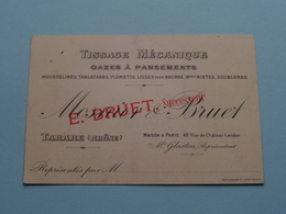 """Tissage Mécanique """" MOSNIER & BRUET - E. BRUET Succr. """" TARARE (Rhône) Paris / Glaston ( Voir / Zie Foto ) ! - Cartes De Visite"""