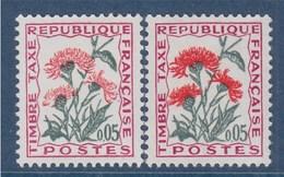 = Paire De Timbre Taxe N°95 Teintes Différentes à L'impression, 2 Neufs 5c Centaure Jacée - Errors & Oddities