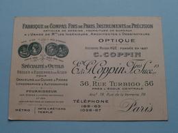 "OPTIQUE Anc. Maison HUE "" C. COPPIN "" / E. & G. COPPIN Frères - Rue Turbigo 56 PARIS ( Voir / Zie Foto ) ! - Cartes De Visite"