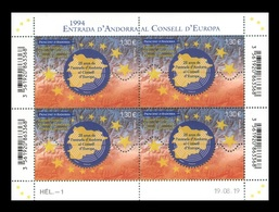 Andorra (FR) 2019 Mih. 859 Membership In The Council Of Europe (M/S) (joint Issue Andorra (FR)-Andorra (ES)) MNH ** - Unused Stamps