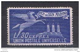 SAN  MARINO:  1946  ESPRESSO   PER  L' ESTERO  -  £. 30  OLTREMARE  N. -  SASS. 15 - Express Letter Stamps