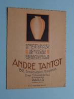 """Porcelaines & Cristaux """" André TANTOT """" 132 Blvd. Magenta PARIS ( Voir / Zie Foto ) ! - Cartes De Visite"""