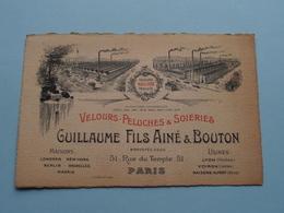 """Velours-Peluches & Soieries """" Guillaume Fils Ainé & BOUTON """" Rue Du Temple 51 PARIS ( Voir / Zie Foto ) ! - Cartes De Visite"""