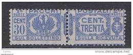 REGNO - VARIETA':  1927/39  P.P.  AQUILA  -  30 C. OLTREMARE  N. -  CORONA  SX. -  C.E.I. 27 - Paketmarken