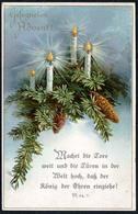 D0116 - Litho Glückwunschkarte Advent Weihnachten - Tannenzweig Kerze Spruchkarte - Noël