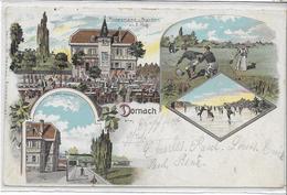 68 MULHOUSE-DORNACH . Grüss En 3 Lithographies Dont Restaurant E Hug , édit :M Markus , écrite En 1898 , état Extra - Mulhouse