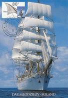 D38701 CARTE MAXIMUM CARD FD 2000 NETHERLANDS - SAIL AMSTERDAM TALLSHIP DAR MLODZIEZY POLAND CP ORIGINAL - Cartes-Maximum (CM)