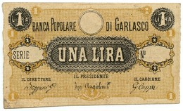 1 LIRA NON EMESSO BIGLIETTO FIDUCIARIO BANCA POPOLARE DI GARLASCO SUP - [ 1] …-1946 : Regno