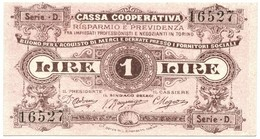 1 LIRA BUONO ACQUISTO CASSA RISPARMIO E PREVIDENZA TORINO 1893-1894 FDS-/FDS - [ 1] …-1946 : Regno