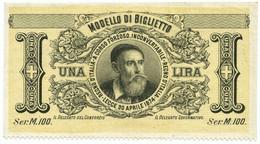 1 LIRA SPECIMEN BRADBURY WILKINSON BIGLIETTO CONSORZIALE 30/04/1874 QFDS - [ 1] …-1946 : Regno
