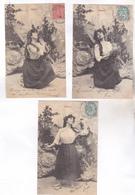 LOT 3 CPA FANTAISIE  (meme Serie) FEMME, MIGNON En 1904! - Autres