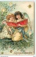 N°12848 - Carte Gaufrée - Fröhliche Weihnachten - Anges Gardiens Lisant - Noël