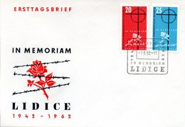 """(WK2-1) DDR Schmuck-FDC """"20. Jahrestag Der Zerstörung Von Lidice""""  Mi.891/92 ESSt 7.6.1962 BERLIN - [6] Repubblica Democratica"""