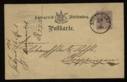 20111 Württemberg GS Karte Mit Firmen Prägung F. Weismantel Stuttgart - Göppingen 1876 , Bedarfserhaltung. - Entiers Postaux