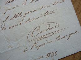 Charles COUDERC (1810-1875) Chanteur TENOR Puis BARYTON. Opera Comique PARIS Offenbach. AUTOGRAPHE - Handtekening