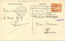 SEINE MARITIME : LE HAVRE SEINE-INFre OMec FLIER 4.IV 1929 LE HAVRE 18-26 MAI / EXPOSITION / PHILATELIQUE - Postmark Collection (Covers)