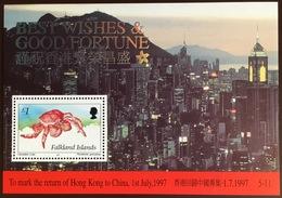 Falkland Islands 1997 Return Of Hong Kong Crab Minisheet MNH - Crustacés