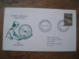 FDC 1973 Effektiv Arbejder Beskyttelse Nul Invaliditet, Invalidité Zéro Préfèrer La Protection, Circular Saw Scie - FDC