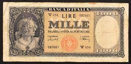 1000 LIRE Italia Medusa 11 02 1949 Serie Sostitutiva W Raro  Naturale LOTTO 3007 - [ 2] 1946-… : Républic