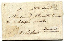 INDRE ET LOIRE De TOURS LAC (abimée) Du 4/04/1825 Linéaire De Port Payé 25x10+ Verso Taxe De 8 Pour SISTERON - 1801-1848: Précurseurs XIX