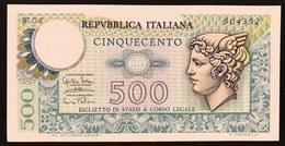 500 LIRE MERCURIO 14 02 1974 Sup/q.fds Serie Sostitutiva W08 LOTTO 3008 - [ 2] 1946-… : Repubblica