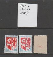 FRANCE / 1966 / Y&T N° 1468/1468a/1468b ** : Blason D'Auch (Les  3 TP De Feuille & De Roulette Sans/avec N° Rouge) - Francia