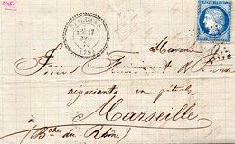 G.C.4450 SEILLANS (78),cachet 22,L.A.C. Du 15/11/73 Pour MARSEILLE-T.P. N°60-(cote 340€) - 1849-1876: Période Classique