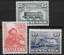 Danemark 1947 N° 311/313 Série Neuve** MNH Centenaire Du Chemin De Fer - 1913-47 (Christian X)