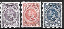 Danemark 1945 N° 298/300 Neufs** MNH Anniversaire Du Roi Christian X - 1913-47 (Christian X)