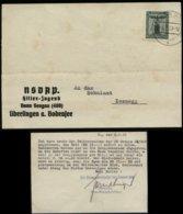 P0040 - Propaganda , DR NSDAP Dienstpost Postkarte HJ , BDM : Gebraucht Bann 408 Seegau Überlingen Bodensee - Zoznegg - Allemagne