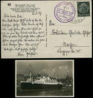 P0042 - Propaganda , DR KdF Schiffspost Postkarte MS St. Louis: Gebraucht KdF HAPAG Dampfer St. Louis - Meißen 1937 , - Allemagne