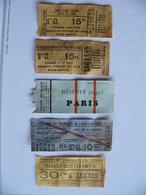 Lot 5 Tickets  Tramways Est Ouest Parisien Paris Raincy Monfermeil Compagnie Générale Des Omnibus - Tramways