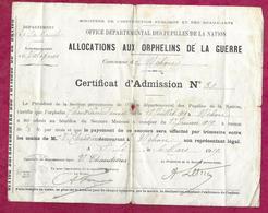 WW 1..CERTIFICAT D'ALLOCATIONS Aux ORPHELINS De La GUERRE Commune De NEHOU ( Manche 50) En 1919 - 1914-18