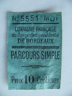 Ticket Compagnie Française Des Tramways électriques Et Omnibus De BORDEAUX - Europa