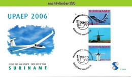Nfm296Afb TRANSPORT VLIEGTUIG MOLEN UPAEP U.P.A.E.P. MILL SOLAR PLANE * GUTTERPAIR * MUHLE FLUGZEUG SURINAME 2006  FDC - Vliegtuigen