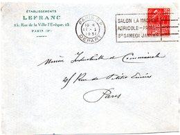 PARIS RP DEPART 1931 =  FLAMME FLIER = SALON MACHINE AGRICOLE  Sur ENVELOPPE - Marcophilie (Lettres)