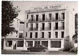 """CPSM Grand Format : Audierne , Hôtel De France  """" Le Bour-Keradennec """" Automobile - Passenger Cars"""