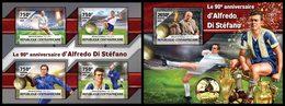 CENTRAL AFRICA 2016 - Alfredo Di Stefano - YT CV=34 €, 4548-51 + BF1009 - Football