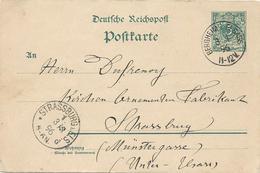 ENTIER POSTAL 1896 AVEC CACHET ALLEMAND DE BERGHEIM - Marcophilie (Lettres)