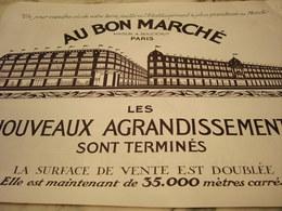 ANCIENNE PUBLICITE NOUVEAUX AGRANDISSEMENT GRAND MAGASIN AU BON MARCHE  1923 - Other