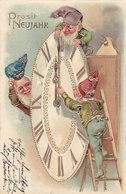 Zwerge Stellen Die Uhr Um - Goldprägelitho - Gest. 31.12.1904             (A-143-190530) - Anno Nuovo