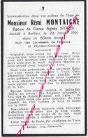 En 1961 Bailleul (59) Rémi MONTAIGNE, ép Agnès STAES - Todesanzeige