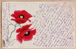 ILL378 Peu Commun Carte Toilée  COQUELICOT Peints Style Art-Déco 1900s à SEGUY Institutrice Graissessac Hérault - Illustrateurs & Photographes