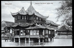 RARE CPA ANCIENNE CHINE- SHANGHAÏ-FAMOUS TEA HOUSE NATIVE CITY - SUR PILOTIS- TRES GROS PLAN - China