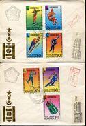 49498 Mongolia, 2 Fdc 1980 Olympiade Of Lake Placid,eishockey,shooting,bob,slalom Etc.circuled !! - Wintersport (Sonstige)