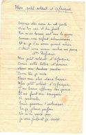 OCCITANIE PORT LA NOUVELLE MILITARIA GUERRE D'ALGERIE MON PETIT SOLDAT D'AFRIQUE POÊME CHANSON A ARNAUD Denis SP 87260 - Historical Documents