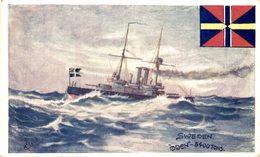 Künstler-AK Kriegsschiff Oden In Stürmischer See, Sweden - Guerra
